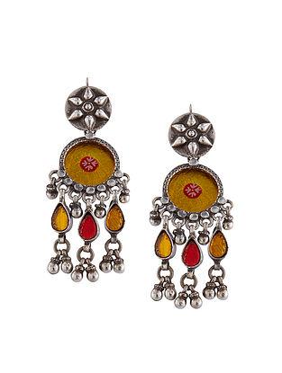 Yellow Sterling Silver Glass Earrings