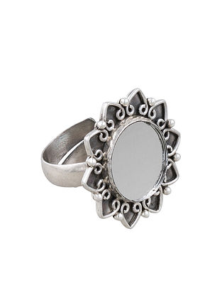 Sterling Silver Adjustable Glass Ring