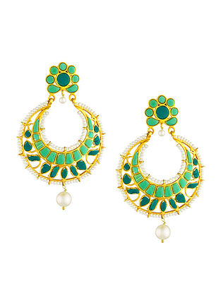 Green Gold Tone Sterling Silver Earrings with Pearls
