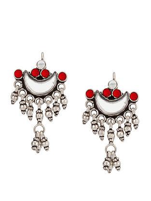 Red Sterling Silver Glass Earrings