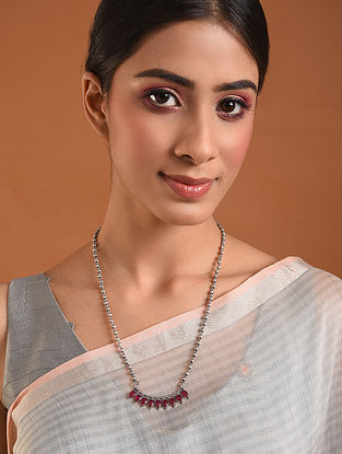 Pink Tribal Silver Mangalsutra