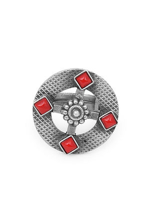 Red Tribal Silver Adjustable Ring