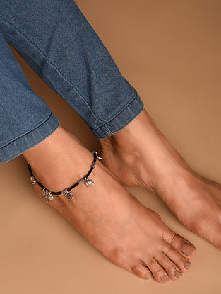 Black Tribal Silver Anklet
