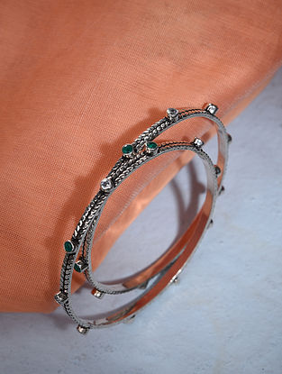 Tribal Silver Bangle Set (Size: 2/3)