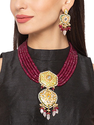 Red Gold Tone Kundan Enameled Necklace And Earrings With Agate