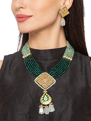 Green White Gold Tone Kundan Enameled Necklace And Earrings With Agate