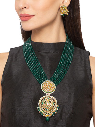 Green Gold Tone Kundan Beaded Necklace And Earrings With Agate And Pearls