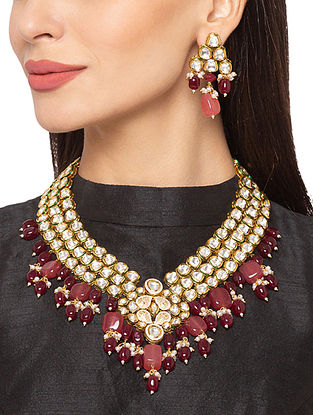 Red Peach Gold Tone Kundan Necklace And Earrings With Agate