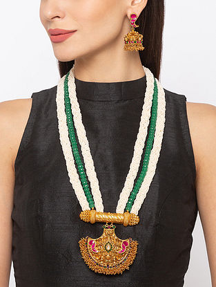 Green Pink Gold Tone Temple Necklace And Earrings With Pearls And Agate