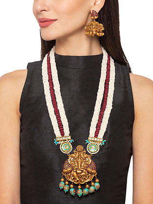 Red Turquoise Gold Tone Temple Necklace And Earrings With Pearls And Agate