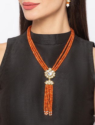 Orange Gold Tone Kundan Beaded Necklace And Earrings With Agate