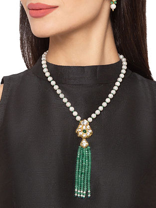 Green Gold Tone Kundan Beaded Necklace And Earrings With Pearls And Agate