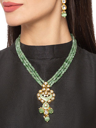 Green Gold Tone Kundan Beaded Necklace And Earrings With Pearls Onyx And Agates
