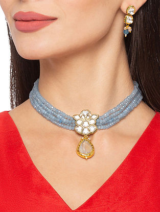 Blue Gold Tone Kundan Beaded Necklace And Earrings With Mother Of Pearls And Agate