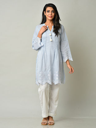 Sky Blue Cotton Tunic with Pants