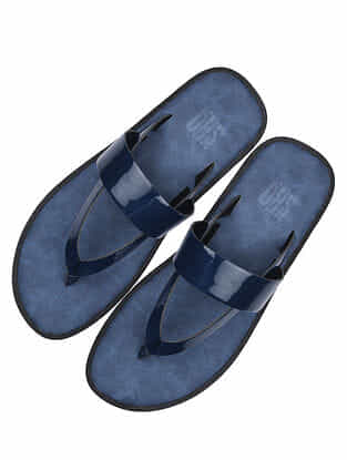 Blue Handcrafted Leather Flats for Men
