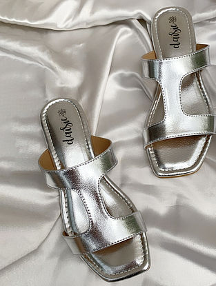 Silver Handcrafted Vegan Leather Flats