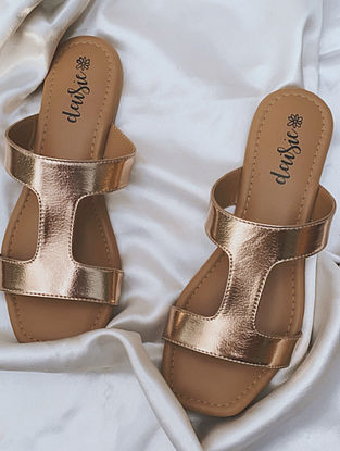 Rose Gold Handcrafted Vegan Leather Flats