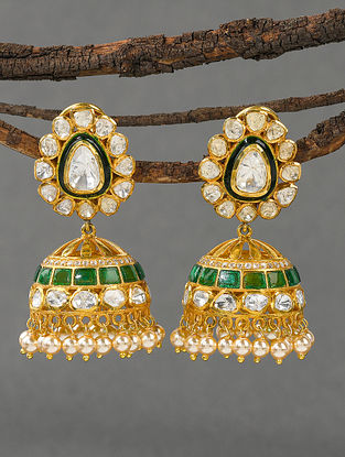 Green Gold Tone Polki Silver Earrings with Pearls