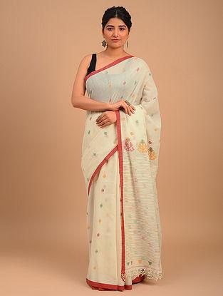 White Handwoven Yarn Dyed Cotton Saree