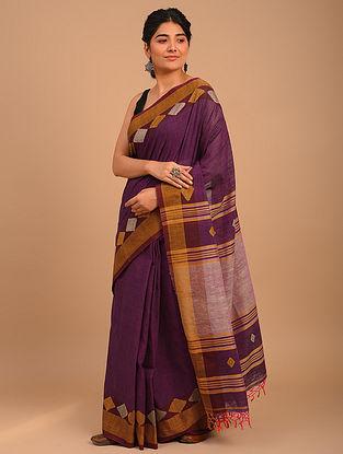 Purple Handwoven Yarn Dyed Cotton Saree