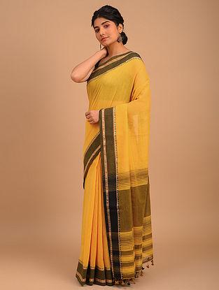 Yellow Handwoven Yarn Dyed Cotton Saree