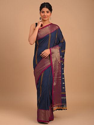 Blue Handwoven Yarn Dyed Cotton Saree