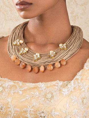 Peach Gold Tone Kundan Necklace With Pearls And Carnelian