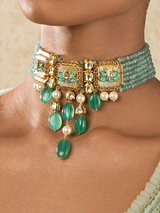 Green Blue Gold Tone Kundan Choker Necklace With Agate Quartz And Mother Of Pearl