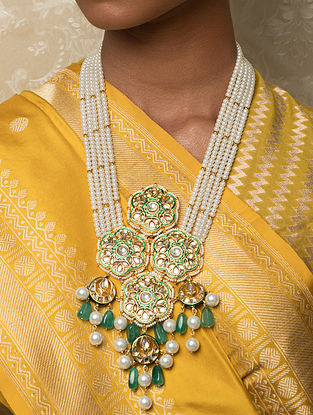 Green Gold Tone Kundan Beaded Necklace With Jade And Pearls