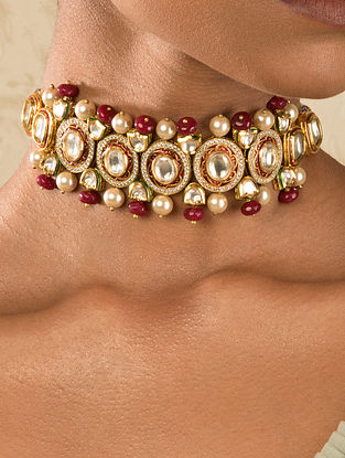 Red Gold Tone Kundan Choker Necklace With Pearls