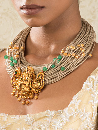 Green Gold Tone Temple Necklace