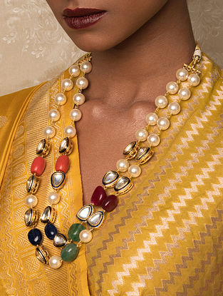 Multicolored Gold Tone Kundan Beaded Necklace With Pearls And Jade