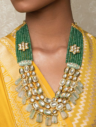Green Gold Tone Kundan Beaded Necklace With Agate And Pearls