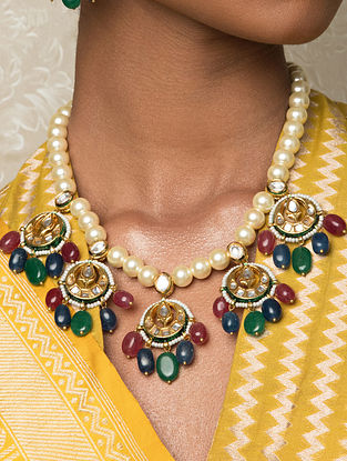 Multicolored Gold Tone Kundan Necklace With Jade And Pearls