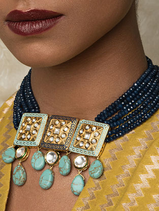 Blue Gold Tone Kundan Enameled Necklace With Agate And Turquoise