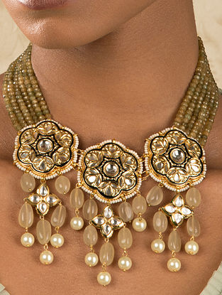 Brown Gold Tone Kundan Necklace With Agate And Quartz