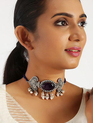 Amethyst Tribal Silver Choker Necklace with Pearls