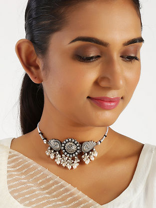 Tribal Silver Choker Necklace with Pearls