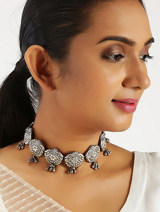 Tribal Silver Choker Necklace