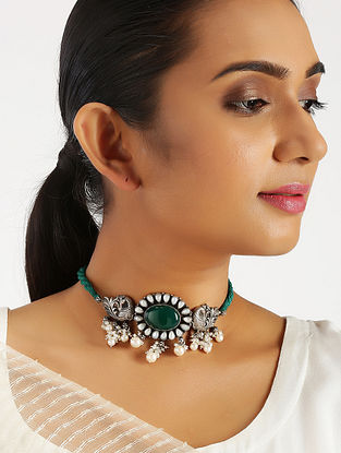 Green Onyx Tribal Silver Choker Necklace with Pearls