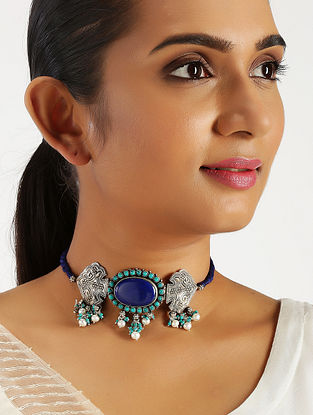Blue Lapis Lazuli Tribal Silver Choker Necklace with Pearls