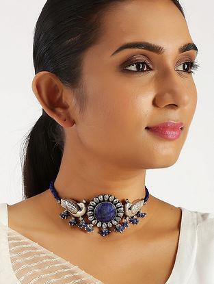 Blue Lapis Lazuli Tribal Silver Choker Necklace