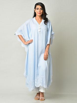 Sky Blue Cotton Kaftan with Pants