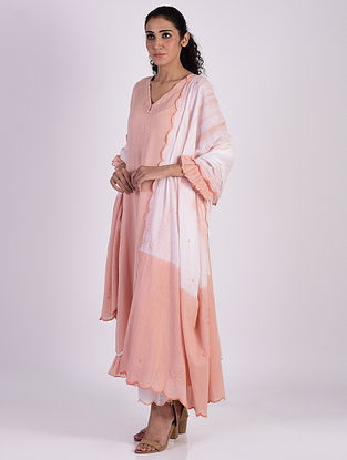 Peach Cotton Kurta with Pants and Tie and Dye Dupatta