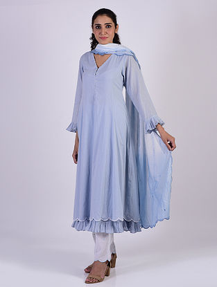 Sky Blue Cotton Kurta with Pants and Tie and Dye Dupatta