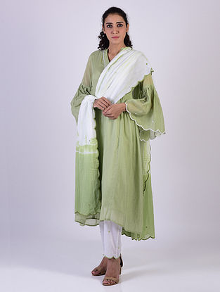 Green Cotton Kurta with Pants and Tie and Dye Dupatta
