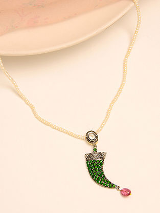 Diamond Polki Pearl Necklace with Chrome Diopside