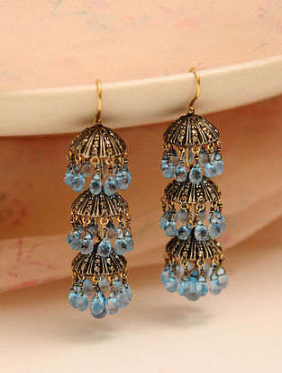 Diamond Jhumki Earrings with Blue Topaz