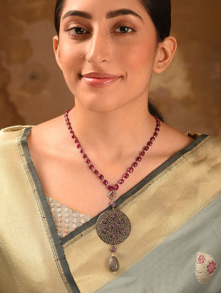 Maroon Ruby Diamond Necklace